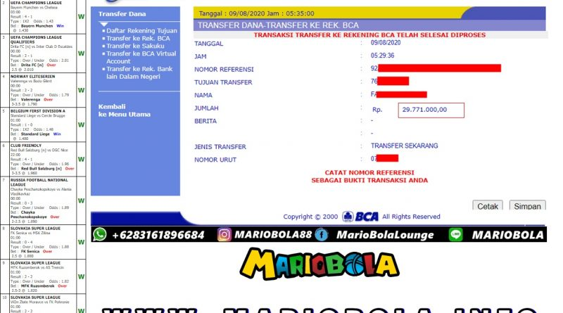 Info Kemenagan Parlay 09 Agustus 2020 Mariobola
